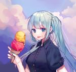 1girl arm_up bangs black_shirt blue_eyes blue_hair blush buttons clouds collar collared_shirt food food_on_face foog hair_between_eyes hatsune_miku highres holding holding_food ice_cream long_hair shirt short_sleeves sky smile solo summer teyan tongue tongue_out twintails upper_body very_long_hair vocaloid