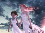 2girls artist_name black_hair clouds dark_skin day dirty dirty_clothes dress foomidori green_eyes halterneck holding_hands long_hair multiple_girls original outdoors pink_hair smile white_dress