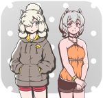 2girls acesrulez alpaca_ears alpaca_huacaya_(kemono_friends) alpaca_suri_(kemono_friends) alternate_costume animal_ears bangs bare_arms bare_shoulders blonde_hair cardigan casual choker closed_mouth collarbone contemporary cowboy_shot eyebrows_visible_through_hair grey_eyes grey_hair hair_bun halter_top halterneck hands_in_pockets hood hood_down hooded_cardigan horizontal_pupils kemono_friends long_sleeves looking_at_another medium_hair multiple_girls platinum_blonde_hair pocket short_hair shorts smile