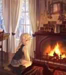 1girl absurdres black_cat braid brick candle cat chair curtains fire fireplace flower highres long_hair nomuraumu original pleated_skirt rug skirt snow socks table very_long_hair vest violet_eyes white_hair window wood wooden_floor wooden_table