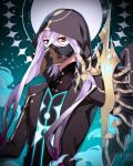 1boy absurdres asclepius_(fate/grand_order) bangs crossed_bangs fate/grand_order fate_(series) green_eyes highres hood male_focus mask shimi_to_ufu short_hair_with_long_locks staff white_hair