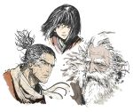 3boys beard black_eyes black_hair closed_mouth facial_hair great_shinobi_owl highres horsea_(ekaki01) kuro_the_divine_heir male_focus multiple_boys mustache old_man ponytail scarf sekiro sekiro:_shadows_die_twice signature simple_background stubble white_background white_hair