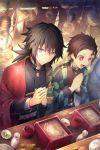 2boys :d bangs belt belt_buckle black_hair black_jacket blush brown_eyes brown_hair buckle character_name checkered chopsticks closed_mouth commentary_request earrings eyebrows_visible_through_hair facial_scar food forehead_scar hair_between_eyes hands_together happy_birthday holding holding_chopsticks jacket jewelry kamado_tanjirou kimetsu_no_yaiba light_bulb long_hair long_sleeves looking_at_viewer low_ponytail male_focus multiple_boys open_clothes open_mouth own_hands_together palms_together ponytail scar sitting smile sparkle tomioka_giyuu violet_eyes white_belt wide_sleeves yunohito