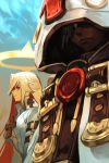 ankh bodysuit breasts closed_mouth dark_skin guilty_gear guilty_gear_xrd halo hankuri hood jack-o'_valentine large_breasts long_hair multiple_girls ramlethal_valentine red_eyes simple_background smile under_boob white_hair