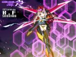 1girl armor bangs barrier beam_cannon character_name code_geass commentary_request copyright_name english_text eyebrows_visible_through_hair flying long_hair looking_at_viewer mecha_musume okiura panties shinkirou sidelocks solo underwear violet_eyes white_hair yellow_neckwear yellow_panties