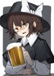 1girl absurdres alcohol beer black_headwear blush capelet collared_shirt cup ears eyebrows eyebrows_visible_through_hair hair_between_eyes hand_on_table hat hat_ribbon headwear highres hisha_(kan_moko) holding long_sleeves looking_at_viewer on_table open_eyes open_mouth orange_eyes puffy_long_sleeves puffy_sleeves ribbon shirt short_hair simple_background sleeves solo table touhou usami_renko white_ribbon