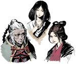 3girls bangs_pinned_back black_eyes brown_hair closed_mouth divine_child_of_rejuvenation emma_the_gentle_blade head_tilt highres horsea_(ekaki01) japanese_clothes kimono lady_butterfly long_hair looking_at_viewer multiple_girls old_woman parted_lips sekiro:_shadows_die_twice signature simple_background white_background white_hair
