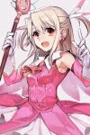 1girl breasts earrings elbow_gloves fate/kaleid_liner_prisma_illya fate_(series) feathers gloves hair_feathers hankuri holding illyasviel_von_einzbern jewelry long_hair looking_at_viewer magical_girl open_mouth prisma_illya red_eyes simple_background smile solo white_gloves