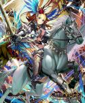 1girl armor blonde_hair blue_dress boots breasts closed_mouth clouds dress floating_hair flower flying hair_flower hair_ornament head_wings high_heel_boots high_heels highres holding holding_sword holding_weapon horseback_riding logo long_hair looking_at_viewer matsui_hiroaki medium_breasts metal_boots monster official_art pegasus red_flower riding rose shingeki_no_bahamut smile solo sword watermark weapon