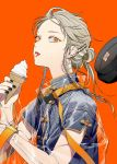 1girl belt_buckle blonde_hair braid buckle chinese_clothes earrings food hair_ornament hairclip hat highres hoop_earrings ice_cream ice_cream_cone jacket jewelry kazari_tayu makeup nail_polish orange_eyes original see-through simple_background soft_serve solo strap tongue tongue_out