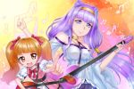 2girls :d aisaki_emiru bangs belt blue_belt blunt_bangs bow bowtie brown_hair crazypen double_bun eyebrows_visible_through_hair floating_hair hair_bow hairband holding holding_instrument hugtto!_precure index_finger_raised instrument long_hair long_sleeves looking_at_viewer multiple_girls nail_polish off-shoulder_shirt off_shoulder open_mouth outstretched_arm pink_nails precure purple_hair red_bow red_eyes red_neckwear ruru_amour shiny shiny_hair shirt smile twintails very_long_hair violet_eyes white_shirt wide_sleeves yellow_hairband