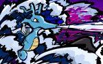 brine_(pokemon) brown_eyes creature from_side full_body gen_2_pokemon highres ishmam kingdra no_humans pokemon pokemon_(creature) profile solo water waves