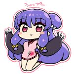 1girl :> bell chan_co character_name chibi china_dress chinese_clothes double_bun dress eyeliner eyeshadow fake_claws gloves hair_ornament hair_ribbon jumping long_hair makeup purple_hair ranma_1/2 red_eyes ribbon shampoo_(ranma_1/2)
