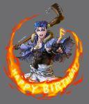1boy blue_hair cu_chulainn_(fate)_(all) cu_chulainn_(fate/grand_order) earrings fate/grand_order fate_(series) fingerless_gloves fire gloves happy_birthday highres jewelry kim_yura_(goddess_mechanic) long_hair male_focus red_eyes runes solo staff