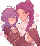 2girls bernadetta_von_varley blush carrying cute facial_mark fire_emblem fire_emblem:_fuukasetsugetsu fire_emblem:_three_houses fire_emblem_16 garreg_mach_monastery_uniform grey_eyes heart hood hood_down intelligent_systems kvlen loli long_hair long_sleeves multiple_girls nintendo open_mouth petra_macneary ponytail princess_carry purple_hair short_hair simple_background teenage uniform what white_background yuri