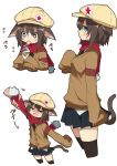 >_< 1girl :t absurdres animal_ears bangs black_legwear black_neckwear black_skirt blue_eyes brown_hair brown_sweater cabbie_hat cardigan cat_ears cat_tail character_sheet closed_mouth commentary cropped_legs disembodied_limb dorothy_(pan_koujou) dress_shirt ears_down food from_side frown hat heart heart-shaped_pupils highres holding holding_food ice_cream_cone licking looking_at_viewer miniskirt motion_lines necktie open_mouth original pan_koujou partially_unbuttoned pleated_skirt red_scarf scarf scarf_pull shirt short_hair simple_background skirt sleeves_past_wrists solo standing sweater symbol-shaped_pupils tail thigh-highs tongue tongue_out white_background white_shirt yellow_headwear
