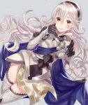1girl armor armored_boots armored_dress black_gloves blush boots breasts cape cape_hold closed_mouth corrin_(fire_emblem) corrin_(fire_emblem)_(female) dress dutch_angle fire_emblem fire_emblem_fates floating_hair gauntlets gloves grey_background hair_between_eyes hairband haru_(nakajou-28) highres long_hair looking_at_viewer medium_breasts pointy_ears red_eyes short_dress silver_hair simple_background smile solo thigh-highs thigh_boots thighs wavy_hair