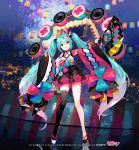 1girl :d aerial_fireworks aqua_eyes aqua_hair bangs black_footwear black_legwear black_skirt commentary_request eyebrows_visible_through_hair fan fireworks folding_fan fuji_choko gradient_hair hair_between_eyes hair_ornament hairclip hatsune_miku head_tilt holding holding_fan lantern long_hair long_sleeves looking_at_viewer mismatched_footwear multicolored_hair night night_sky open_mouth outdoors paper_lantern pink_hair platform_footwear pleated_skirt sidelocks single_thighhigh skirt sky sleeves_past_wrists smile solo thigh-highs twintails very_long_hair vocaloid watermark white_footwear wide_sleeves x_hair_ornament