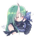 2girls animal_ears animalization arknights bangs black_shorts blush cat_ears ch'en_(arknights) chibi closed_eyes cropped_torso dated dragon_tail eyebrows_visible_through_hair fingerless_gloves gloves green_hair hair_between_eyes horn horns hoshiguma_(arknights) hug keluy long_hair multiple_girls shorts signature sleeveless tail white_background