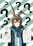 1girl ? absurdres amiya_(arknights) animal_ears arknights bangs black_jacket blue_eyes blue_neckwear brown_hair chef_(chef_dominic) commentary cravat diagonal-striped_background diagonal_stripes eeyore green_background hair_between_eyes hands_up highres holding holding_paper jacket jewelry long_hair looking_at_viewer neck_ring open_clothes open_jacket paper rabbit_ears ring shirt solo striped striped_background upper_body white_background white_shirt winnie_the_pooh