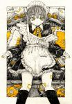 1girl apron bandaid bandaid_on_knee black_dress border broom collared_dress dress eyebrows_visible_through_hair frilled_apron frilled_dress frilled_pillow frills greyscale highres kitamurashu maid maid_apron maid_headdress monochrome off_shoulder original outside_border pillow short_hair sitting sleeves_past_wrists solo spot_color tape white_border yellow_eyes yellow_nails yellow_neckwear