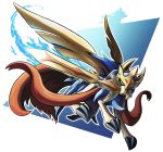 brown_eyes claws creature dog dog_focus full_body gen_8_pokemon hftran1203 highres jumping legendary_pokemon looking_at_viewer mouth_hold no_humans pokemon pokemon_(creature) solo sword weapon zacian