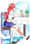 1girl absurdres ahoge angel_wings bangs blue_skirt braid cat commentary drinking_straw from_side halo highres holding long_hair midriff orange_eyes original outdoors red_footwear redhead renroujiang shirt shoes short_sleeves short_wings sitting skirt solo white_shirt wings