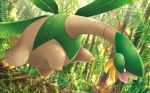 black_eyes claws creature flying forest full_body gen_3_pokemon himeno_kagemaru nature no_humans official_art open_mouth outdoors plant pokemon pokemon_(creature) pokemon_trading_card_game solo third-party_source tropius