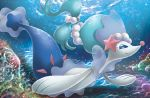 blue_eyes bubble closed_mouth creature eyelashes full_body gen_7_pokemon green_hair himeno_kagemaru long_hair no_humans official_art pokemon pokemon_(creature) pokemon_trading_card_game primarina rock smile solo third-party_source tied_hair underwater water