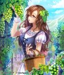 1girl basket brown_eyes brown_hair corset curly_hair day dress food fruit grapes hair_between_eyes hair_ornament holding holding_basket interitio long_hair open_mouth outdoors ribbon-trimmed_sleeves ribbon_trim shiny shiny_hair shirt short_sleeves solo standing tenkuu_no_crystalia very_long_hair white_dress white_shirt wrist_cuffs