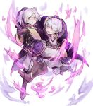 1boy 1girl asanokkkken aura belt dark_aura fire_emblem fire_emblem_awakening fire_emblem_heroes gloves grima_(fire_emblem) highres hood hood_down long_sleeves open_mouth red_eyes robin_(fire_emblem) robin_(fire_emblem)_(female) robin_(fire_emblem)_(male) short_hair simple_background twintails white_background white_hair