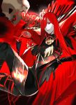 1girl absurdres aonogura bangs black_bodysuit bodysuit breasts cape fate/grand_order fate_(series) hair_over_one_eye highres large_breasts long_hair oda_nobunaga_(fate)_(all) oda_nobunaga_(maou_avenger)_(fate) red_cape red_eyes redhead skeleton solo very_long_hair