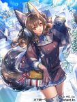1girl animal_ears bangs brown_coat brown_gloves brown_hair coat dress dutch_angle earmuffs eyebrows_visible_through_hair fake_animal_ears fox_ears fur-trimmed_gloves fur_trim gloves grey_legwear grey_sweater hair_between_eyes hand_in_hair interitio long_hair looking_at_viewer open_mouth outdoors red_eyes ribbed_sweater shiny shiny_hair solo sunlight sweater sweater_dress tenka_touitsu_chronicle thigh-highs turtleneck turtleneck_sweater winter