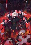 1girl 6+others animal_ears armor bangs blood bloody_weapon blush coat dual_wielding gloves grey_hair gun hat highres holding holding_gun holding_sword holding_weapon mask mask_removed medium_hair military military_uniform mouse_ears mouse_girl multiple_others original plague_doctor_mask polearm ranyu red_gloves red_legwear spear sword uniform weapon
