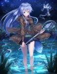 1girl :o aqua_eyes bangs bare_legs belt black_skirt blush breasts brown_coat coat collarbone commentary_request cowboy_shot creature duel_monster eria eyebrows_visible_through_hair fireflies grass green_shirt holding holding_staff hooded_coat large_breasts long_hair long_sleeves looking_at_viewer night night_sky nukenin pleated_skirt pond reflection ribbed_shirt ripples shirt sidelocks signature skirt sky solo_focus staff star_(sky) starry_sky test_tube wading water water_drop wide_sleeves yuu-gi-ou