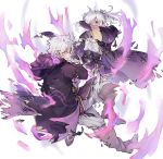 1boy 1girl asanokkkken aura belt dark_aura fire_emblem fire_emblem_awakening fire_emblem_heroes from_side gloves grima_(fire_emblem) highres hood hood_down long_sleeves red_eyes robin_(fire_emblem) robin_(fire_emblem)_(female) robin_(fire_emblem)_(male) short_hair simple_background torn_clothes twintails white_background white_hair
