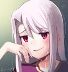 1girl blush boa_(brianoa) eyebrows_visible_through_hair fate/stay_night fate_(series) grey_hair hair_between_eyes hand_up highres illyasviel_von_einzbern long_hair looking_at_viewer parted_lips portrait red_eyes smug solo twitter_username yellow_eyes