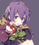 1girl ahoge ap_bar bernadetta_von_varley bow crossover earrings eyebrows_visible_through_hair eyes_visible_through_hair fire_emblem fire_emblem:_three_houses gloves hair_bow jewelry knees_to_chest leather leather_gloves long_sleeves looking_at_viewer open_mouth piranha_plant purple_background purple_hair short_hair simple_background sitting solo stuffed_toy tareme tears violet_eyes wavy_mouth