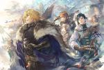 3boys 4girls armor belt black_hair blonde_hair blue_eyes brown_eyes brown_gloves cape cat catherine_(fire_emblem) closed_eyes dark_skin dated dimitri_alexandre_blaiddyd dragon eyepatch felix_hugo_fraldarius fire_emblem fire_emblem:_three_houses flayn_(fire_emblem) from_side fur_trim gloves haruko_(haruhello) ingrid_brandl_galatea long_sleeves multiple_boys multiple_girls open_mouth parted_lips petals redhead riding shamir_nevrand sheath sheathed short_hair signature sword sylvain_jose_gautier weapon wyvern