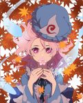1girl autumn_leaves blue_headwear blue_kimono cherry_blossoms covering_mouth flower frills hands_up hat hat_removed headwear_removed hitodama holding holding_flower japanese_clothes joniko1110 kimono long_sleeves looking_at_viewer medium_hair mob_cap pink_eyes pink_hair saigyouji_yuyuko short_hair solo touhou triangular_headpiece upper_body white_background
