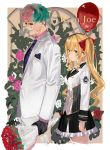 1boy 1girl black_gloves black_skirt blonde_hair bouquet bow breasts brown_hair closed_eyes closed_mouth collared_shirt facial_mark flower formal frilled_skirt frills gloves green_hair hair_bow highres holding holding_bouquet isshiki_(ffmania7) jacket joe_rikiichi long_hair long_sleeves looking_at_viewer medium_breasts multicolored_hair necktie nijisanji pants pink_flower pink_hair pink_rose pink_shirt print_neckwear purple_neckwear red_bow red_eyes red_flower red_rose rose shirt skirt smile suit takamiya_rion twintails two-tone_hair very_long_hair virtual_youtuber white_jacket white_pants