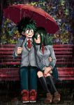 1boy 1girl arm_around_waist asui_tsuyu bench black_legwear blazer blush boku_no_hero_academia closed_eyes commentary couple english_commentary green_eyes green_hair hair_between_eyes hands_on_lap head_rest hetero highres holding holding_umbrella hong_hong jacket kneehighs leaning_on_person leaning_to_the_side loafers long_hair long_sleeves looking_at_another messy_hair midoriya_izuku necktie open_mouth outdoors pleated_skirt rain red_neckwear school_uniform shoes short_hair sitting skirt smile u.a._school_uniform umbrella