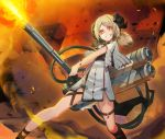 1girl arknights baniran_dorosu black_shirt blonde_hair capelet city crazy_smile embers fire flamethrower grin ground_vehicle highres horns ifrit_(arknights) kneehighs military military_vehicle miniskirt motor_vehicle orange_eyes ore_lesion_(arknights) ruins shirt skirt smile smoke tail tank tube twintails weapon white_capelet white_skirt