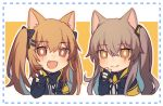 2girls animal_ears black_bow black_gloves blush bow brown_eyes brown_hair cat_ears chibi closed_mouth eyebrows_visible_through_hair fang fingerless_gloves girls_frontline gloves hair_ornament hairclip hiirotaka long_hair looking_at_viewer multiple_girls open_mouth scar scar_across_eye smile ump45_(girls_frontline) ump9_(girls_frontline) v
