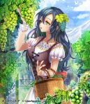 1girl basket blue_hair blurry blurry_background bustier curly_hair day dress food fruit gradient_hair grapes green_eyes hair_between_eyes hair_ornament holding holding_basket interitio lens_flare long_hair multicolored_hair open_mouth outdoors ribbon-trimmed_sleeves ribbon_trim shiny shiny_hair short_sleeves solo standing tenkuu_no_crystalia two-tone_hair very_long_hair white_dress wrist_cuffs