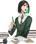 1boy androgynous aonogura black_eyes black_hair book fate/zero fate_(series) green_eyes green_hair highres ink ink_bottle ink_pen ink_stain male_focus multicolored_hair necktie paper pen solo sweater tsurime two-tone_hair waver_velvet