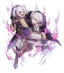 1boy 1girl anger_vein asanokkkken aura belt clenched_teeth dark_aura fire_emblem fire_emblem_awakening fire_emblem_heroes gloves grima_(fire_emblem) highres hood hood_down long_sleeves open_mouth red_eyes robin_(fire_emblem) robin_(fire_emblem)_(female) robin_(fire_emblem)_(male) short_hair simple_background teeth twintails white_background white_hair