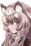 1girl animal_ear_fluff animal_ears arknights bangs bead_necklace beads braid commentary_request eyebrows_visible_through_hair fujisaki_fuuji grey_eyes hair_between_eyes head_chain jewelry leopard_ears long_hair looking_at_viewer necklace parted_lips partial_commentary portrait pramanix_(arknights) silver_hair simple_background solo twin_braids white_background