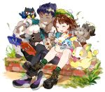 1boy 1girl :d ^_^ aano_(10bit) absurdres bangs bird black_footwear black_pants blue_jacket blush boots brick_wall brown_hair bubble_tea cardigan character_request closed_eyes commentary_request cup dark_skin disposable_cup dog dress drinking_straw fur-trimmed_jacket fur-trimmed_sleeves fur_trim gen_8_pokemon greedent green_headwear green_legwear grey_cardigan grin highres holding holding_cup hop_(pokemon) jacket open_clothes open_jacket open_mouth pants pink_dress plaid plaid_legwear pokemon pokemon_(creature) pokemon_(game) pokemon_swsh purple_hair scorbunny sheep shoes sitting smile sobble socks squirrel tam_o'_shanter tongue tongue_out v-shaped_eyebrows white_background wooloo yamper yuuri_(pokemon)