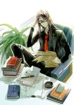 1boy absurdres ashtray black_hair book cigarette desk fate/grand_order fate_(series) formal glasses hand_in_hair highres long_hair lord_el-melloi_ii male_focus necktie papers pixiv_fate/grand_order_contest_1 plant reading smoking solo suit waver_velvet white2013